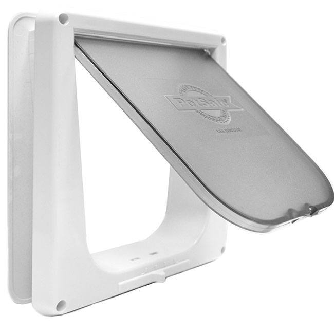 Petsafe Indoor Cat Flap with a white frame that can lock the frosted flap.