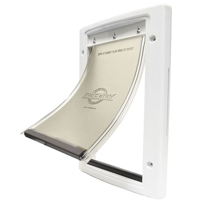 The Petsafe Plastic Pet Door  with a white frame and a flexible vinyl flap for easy use and training.