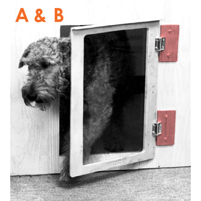 A picture of a dog leaving through the Mason pet door with the shims highlighted- labeled A and B
