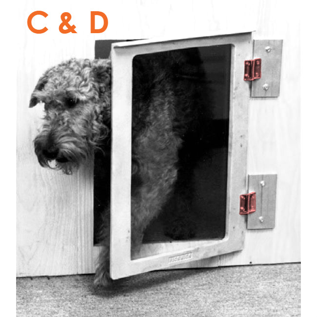 A dog leaving through the Mason pet door with the hinges highlighted- labeled C and D