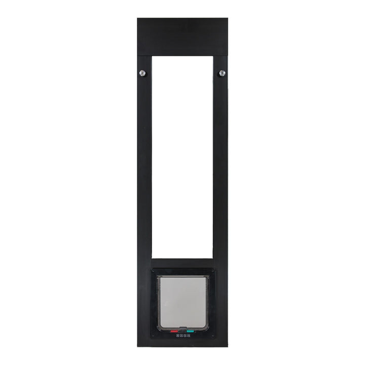 The cat door panel insert has a spring-loaded design with a 3 inch adjustment range