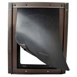 The Pride Pet Door for Screens has a heavy, black rubber flap for improved wind resistance and durability