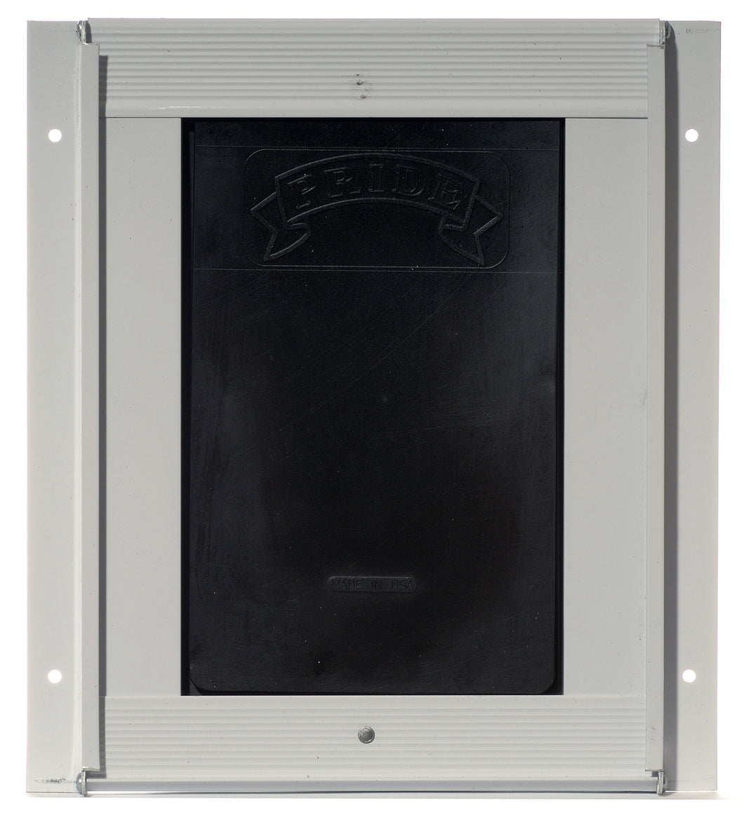 The Pride Pet Doors for Doors dog flap with an off-white wall frame and a black flap.