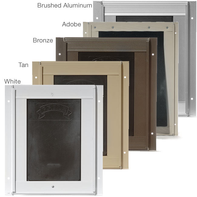 color options for pride pet doors including white, tan, bronze, adobe, and brushed aluminum