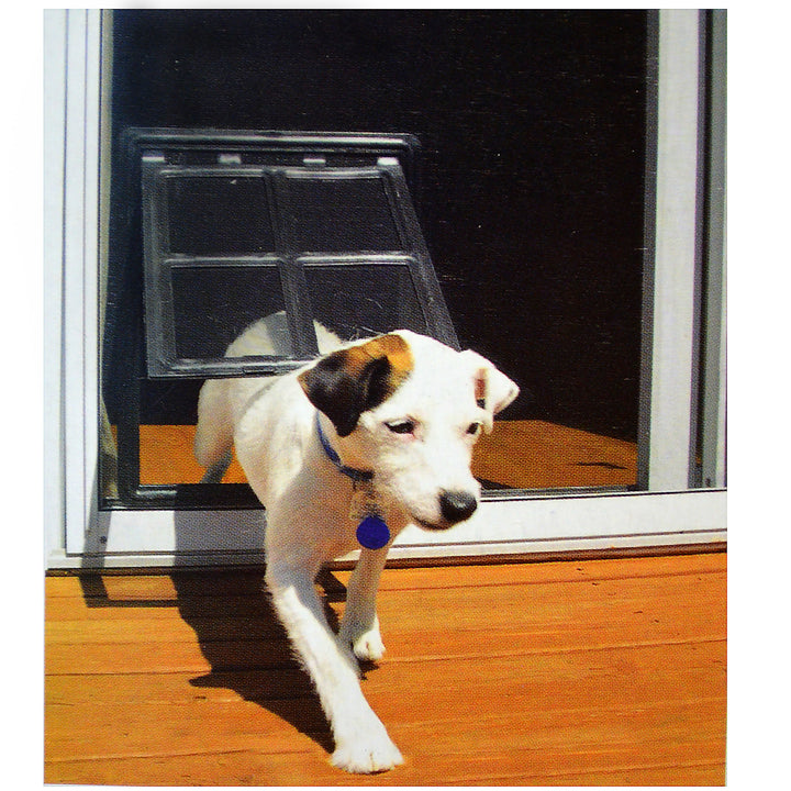 RCR Easy Screen Pet Door with a black snap-on frame and a clear flap separated