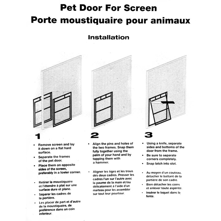 RCR Easy Screen Pet Door diagram