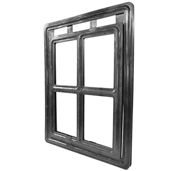 RCR Easy Screen Pet Door with a black snap-on frame and a clear flap separated into four parts.