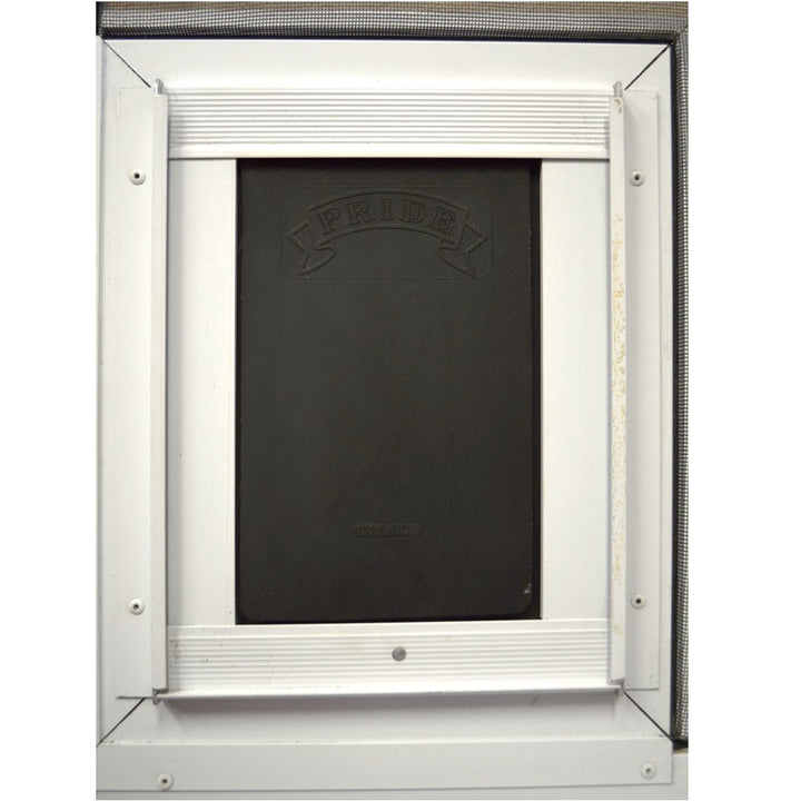 pride pet door installed into a screen