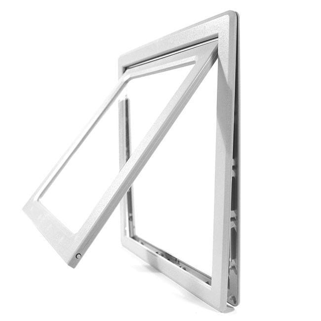The Ideal Screen-Fit Pet Door with a thin gray frame and a clear flap perfect for small pets.