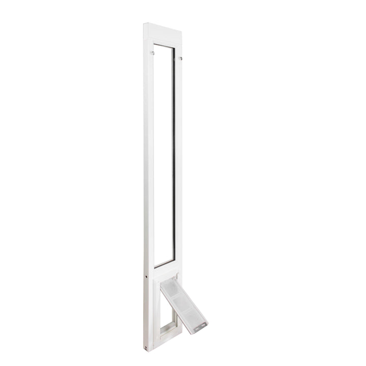 The Endura Flap Vinyl cat door for sliding glass doors with a white frame and a clear flap perfect for cats.