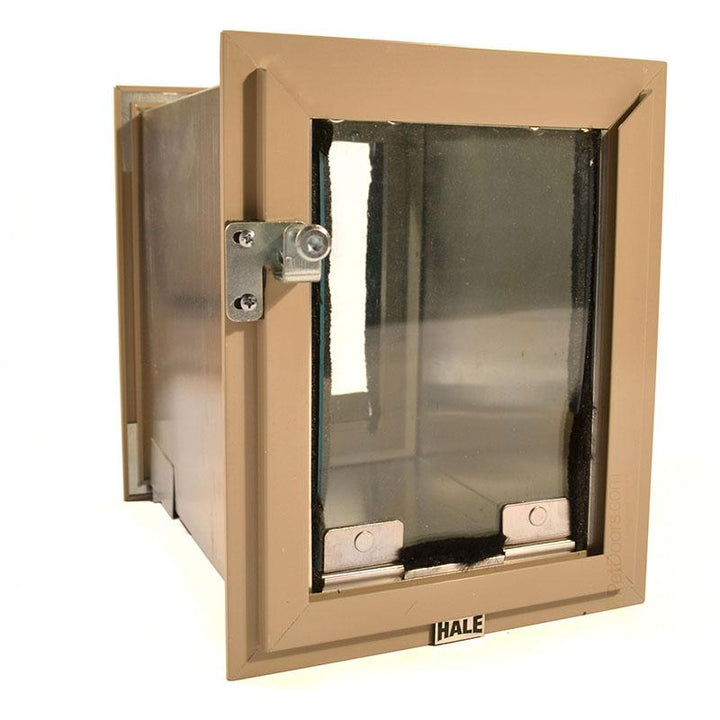 Hale wall dog door in Arizona beige Frame Color. Comes with a locking cover to secure your home.