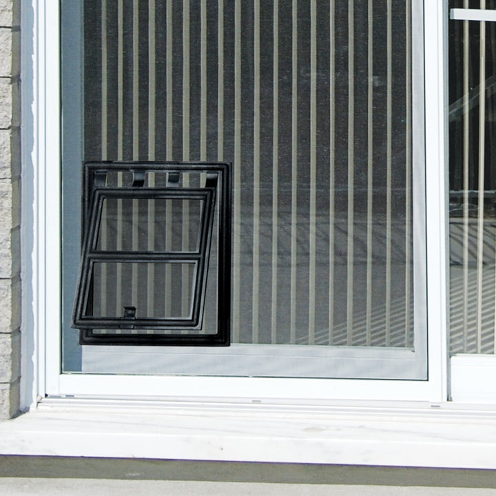 RCR Easy Screen Pet Door with a black snap-on frame and a clear flap