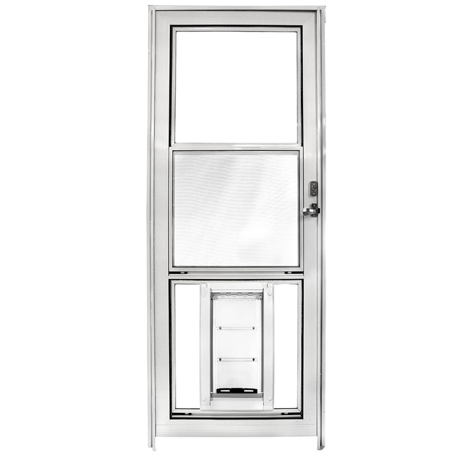 A storm door with a white frame, clear glass panels, and an energy efficient Endura Flap Pet Door.