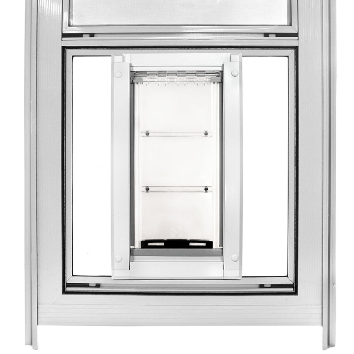 Endura Flap premounted inside Glass and Vent storm door
