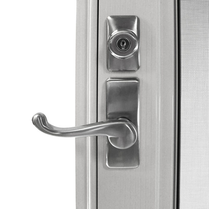 Detail photo of the handle and lock on  the Endura Flapstorm door