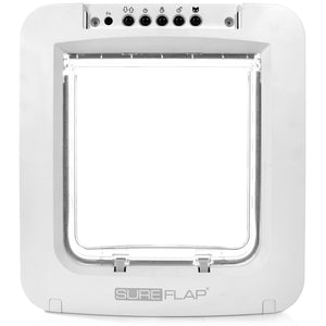 front side view of the white plastic framed SureFlap Microchip Pet Door for Doors with a clear plastic rigid flap  and pet controls at the top