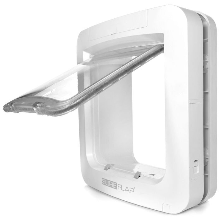 Side view of the SureFlap Microchip Pet Door for Door with the clear plastic flap open