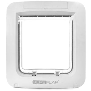 front side view of the white plastic framed SureFlap Microchip Pet Door for Doors with a clear plastic rigid flap