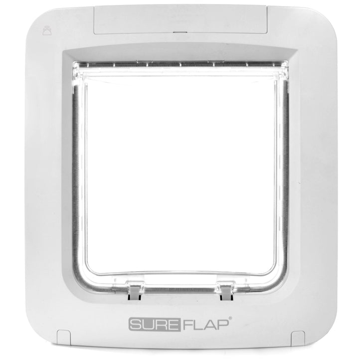 SureFlap microchip cat flap connect with pet hub has a clear acrylic flap