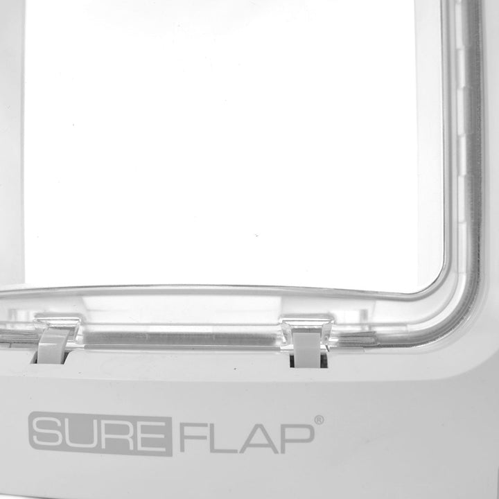 Close up image of the plastic bottom of the Sure Petcare SureFlap Microchip Pet Door for Doors