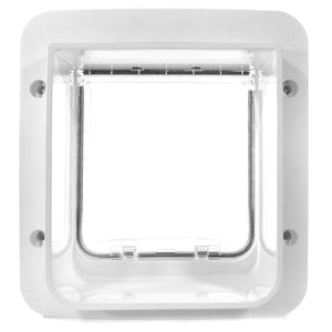 back side of the white plastic framed Sure Petcare SureFlap Microchip Pet Door for Doors