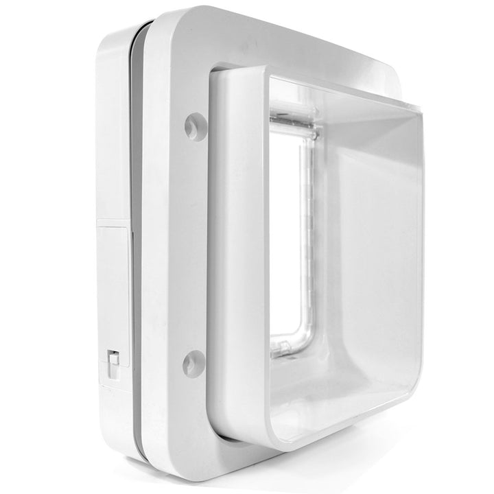 diagonal backside view of the white plastic framed SureFlap Microchip Pet Door for Doors