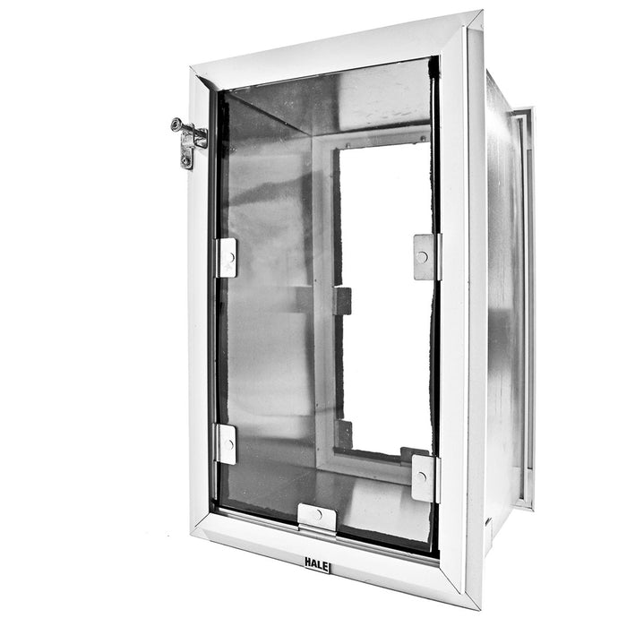 A Hale Pet Door for walls with a silver frame and a clear flap lined with magnets