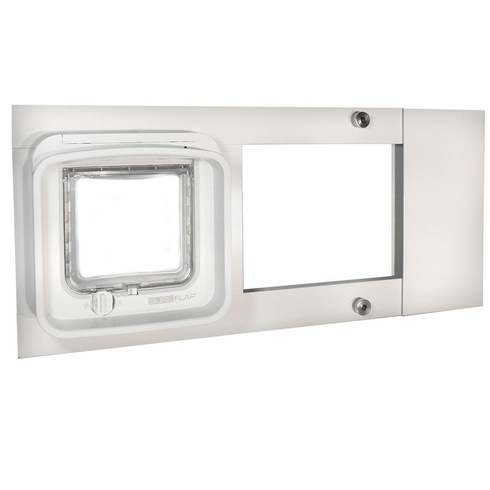 The Thermo Sash 2e with DualScan Cat Flap, which is a long horizontal cat door with a white frame and a clear flap.