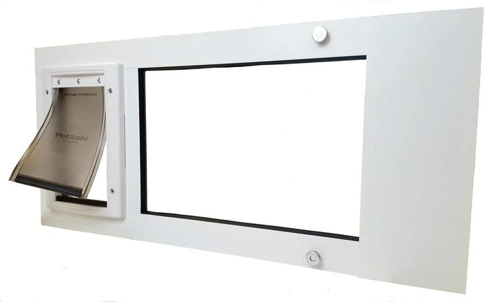 The Petsafe Vertical Window Pet Door with a white aluminum frame and a tinted flap