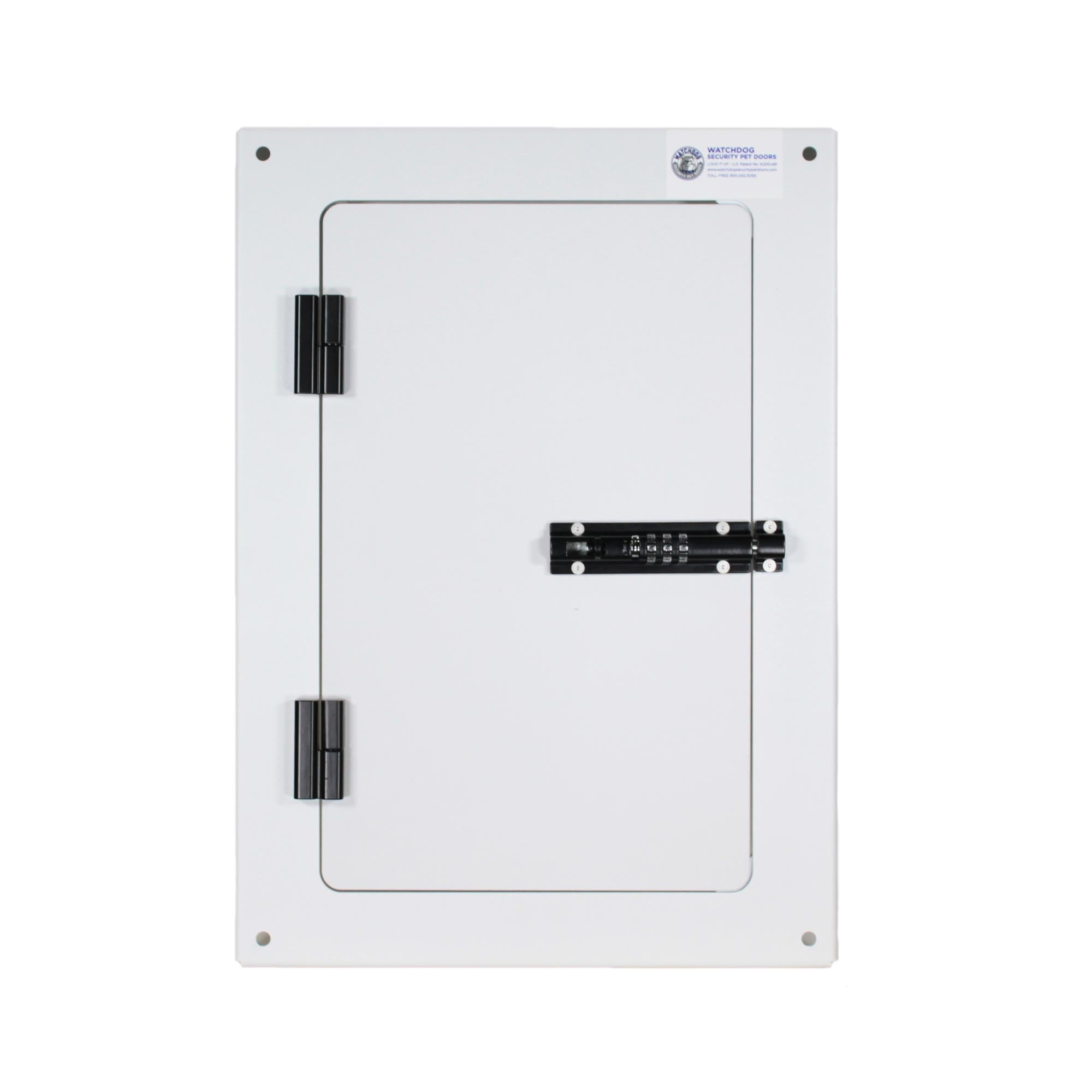 Watchdog steel security dog door with combo lock.