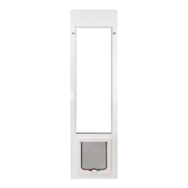 The Whiskers and Windows cat door for sliding glass doors comes in size small and large