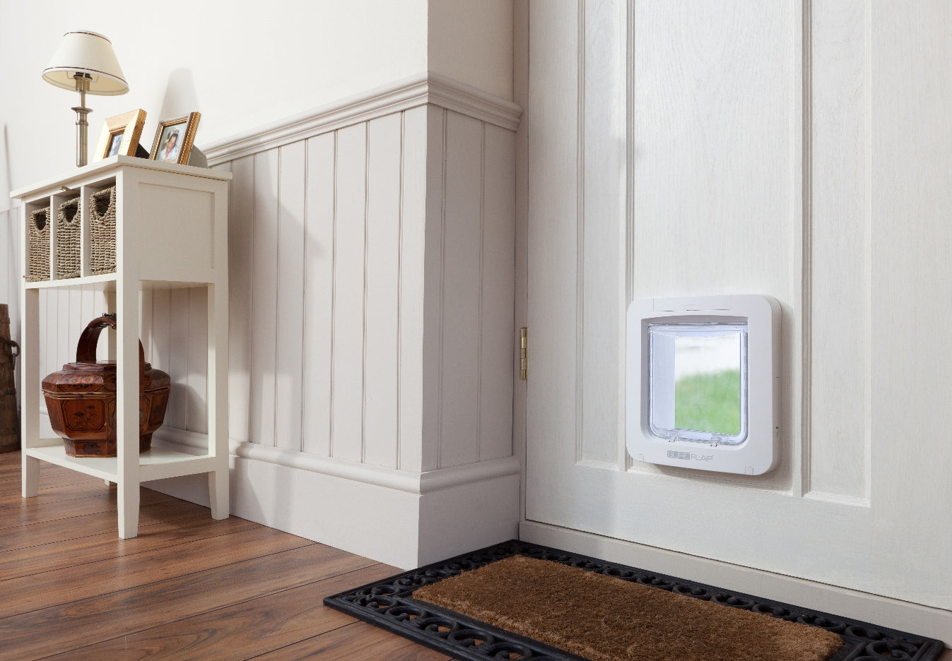 the Sureflap electronic microchip pet door installed into a wall
