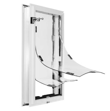 Hale custom dog door with clear, vinyl double flaps for better insulation - frame color in White.