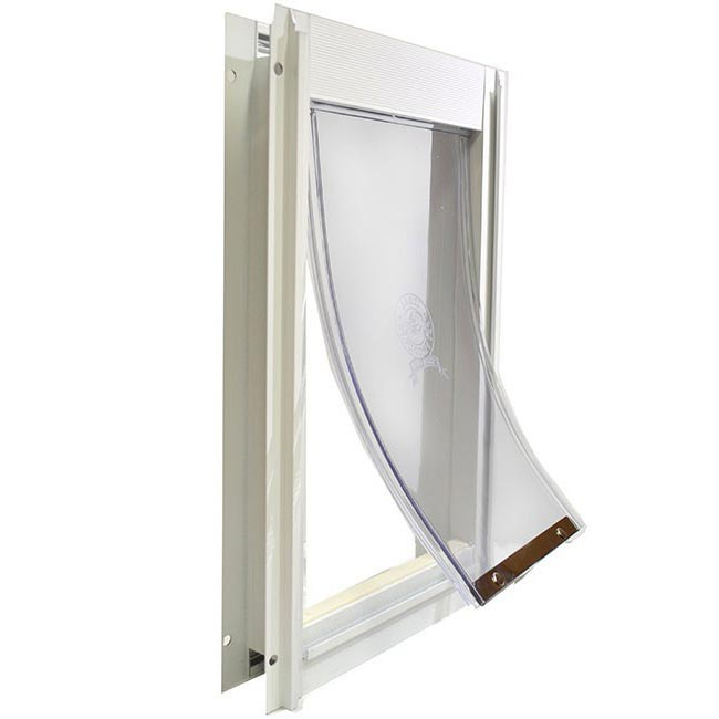 Ideal Deluxe pet door with white frame in comparison chart to Hale pet door