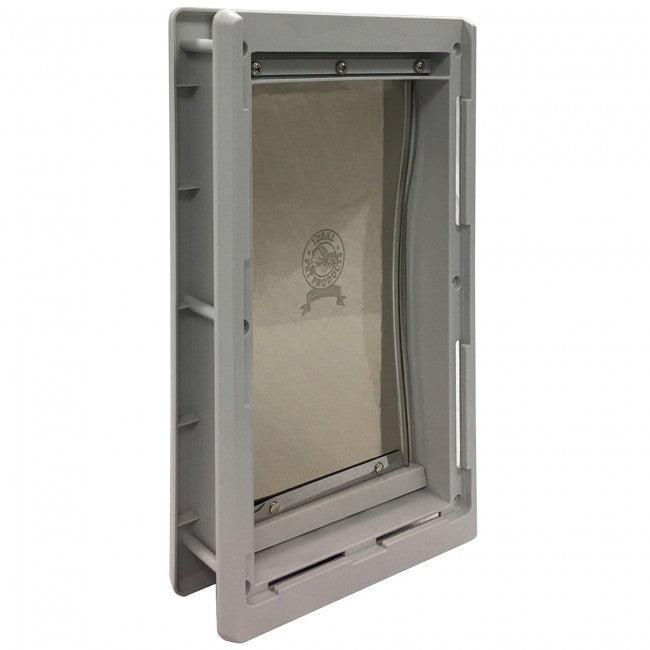 Ideal Original pet door with grey frame compared to Hale Pet Door