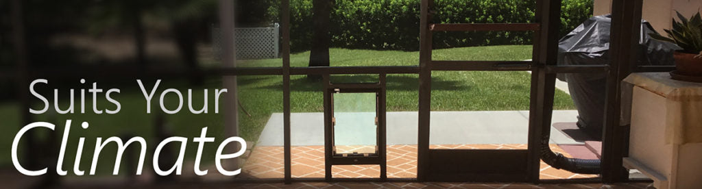 pet door installed into a glass panel piece custom installation for a door that suits your climate