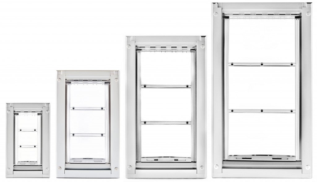 The many sizes of the Endura Flap Winterized dog door, the best exterior doors for cold weather