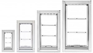 the many sizes of Endura pet doors - no more getting stuck in doggy door