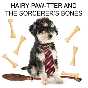A black and white dog dressed like Harry Potter and surrounded by bones. The text reads: 'Hairy Paw-tter and the Socrcerer's Bones.'