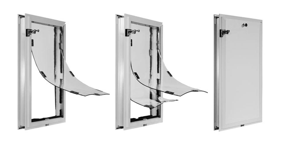 Hale custom dog doors with single flap, double flap, and locking cover - White frame color.