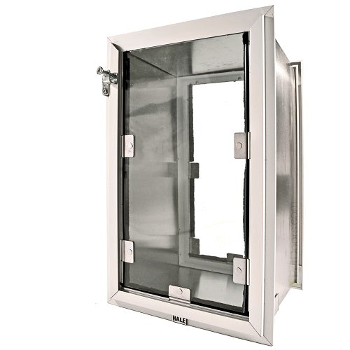 Hale Pet Door for wall installation double flap in brushed alumiinum