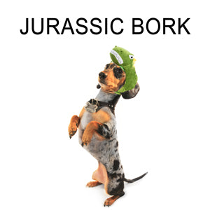 A weiner dog on it's hind legs and wearing a silly dinosaur hat. The text reads: 'Jurassic Bork.'