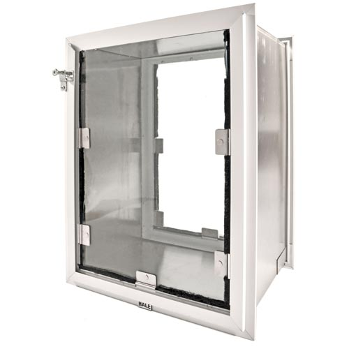 The Hale Pet Doors for Walls, which has adjustable magnets and weatherstripping lining the flap for increased insulation value.