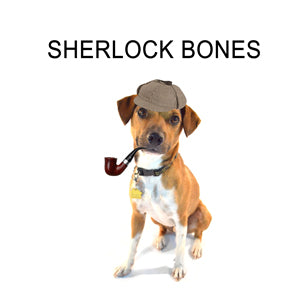 A brown and white dog with an old-fashion pipe and a deerskin hat, labeled 'Sherlock Bones'