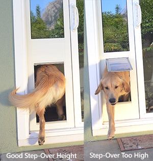 Comparison picture showing a dog door with a good step-over height and a dog door where the step-over is too high.