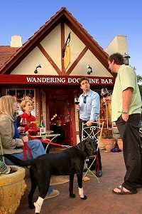Drinking with your dog has never been this fun in Wandering Dog Wine Bar in Solvang, California.