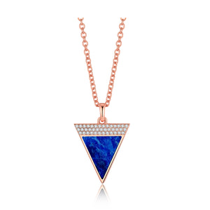 Load image into Gallery viewer, Diamond Lapis Lazuli Geometría Triangle 18K Rose Gold Necklace