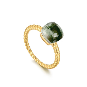 Load image into Gallery viewer, Prasiolite Cushion-Cut Sugar Cube Gold Ring