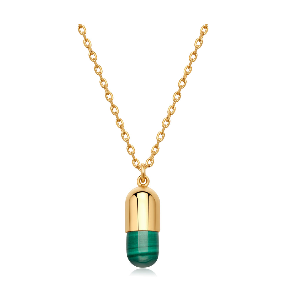 Malachite Magic Capsule Gold Necklace