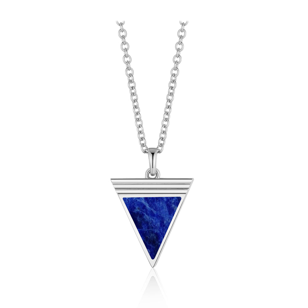 Load image into Gallery viewer, Lapis Lazuli Geometría Triangle Silver Necklace